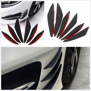 6 X ABS Car Front Bumper Fins Spoiler Refit Splitter Black Carbon Fiber Color