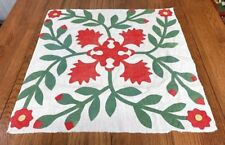 Early Red Green C 1850s Album QUILT Top pc Applique RARE Mayland Antique