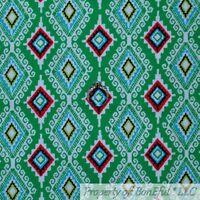 BonEful FABRIC FQ Cotton Quilt Green White Red Aqua Blue Damask Stripe Xmas Baby