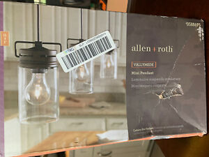 Allen Roth Vallymede Aged Bronze Kitchen Clear Glass Pendant Light