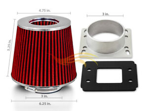 RED Cone Dry Filter + AIR INTAKE MAF Adapter Kit For BMW 84-91 318 325 M3 E30