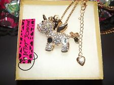 Betsey Johnson Unicorn Stands Necklace Pendant Enamel Crystal Gift Box Bag NWT
