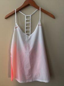 Lululemon Breezy Ladder back Singlet Tank Top Pink Coral White Grapefruit Sz 8.