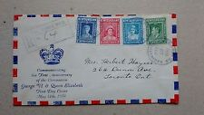 1938 NEWFOUNDLAND FDC ROYAL FAMILY First CORONATION ANNIVERSARY,sent to Toronto