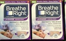 52 BREATHE RIGHT Nasal Strips LAVENDER Adult Size Nose Band Stop Snoring Breath