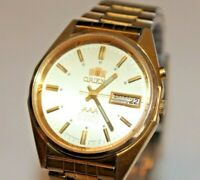 Vintage Orient Crystal AAA Automatic 21J Japan Wrist Watch Serviced Gold Dial