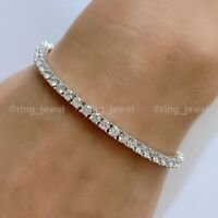 Certified 6 Ct Diamond Tennis Bracelet Solid 14k White Gold Excellent Round Cut