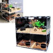 4 Grids Acrylic Cage Tank Reptile Terrarium Gecko Lizard Snake Spider Vivarium