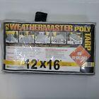 Weathermaster 12' x 16' Heavy Duty Poly Tarp Silver Black Waterproof Rope Cover