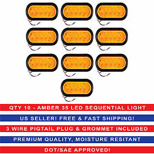"""6"""" Oval Amber Sequential Arrow Mid Turn Light 35 LED Trailer w/Grommet Qty10"""