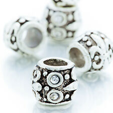 5Pcs White Gold Crystal Fit Plated Silver Lot Charm Beads European Bracelet