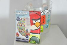 lot Angry Birds Microfiber Shower Curtain and Trash can clear w/ characters New