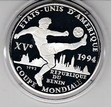 Benin  1000 Fr. CFA  1992  Fußball WM 1994    Silber  PP