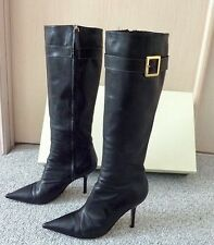 $575 KATE SPADE Black Calf Leather Buckle Knee High Heels Boots Size 11 M Gladly