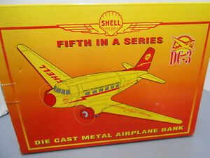 SHELL PETROLEUM COMPANY DC-3 FIFTH IN A SERIES AIRPLANE COIN BANK  NIB