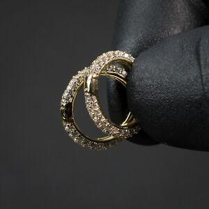 Men's Fully Iced Thin 14K Gold 925 Sterling Silver Iced  Cz Huggie Hoop Earrings