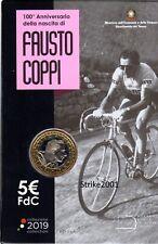 NEW !!! 5 EURO COMMEMORATIVO ITALIA 2019 Fdc 100° nascita Fausto COPPI in folder