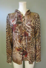 CHRISTOPHER & BANKS - WOMEN'S BROWN PRINT ZIP-UP SWEATER JACKET - SIZE L - NEW