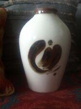Bing Grondahl Vase White with Brown Motif  / Flower 158/5239 18cm Tall