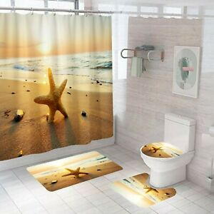 Starfish Shower Curtain Bathroom Rug Set Bath Mat Non-Slip Toilet Lid Cover