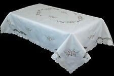 """72x126"""" Rosebuds Embroidered Tablecloth 12 Napkins Rectangle Dining Table Cover"""
