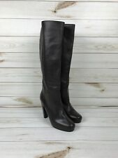NYC Scoop Women's Brown Leather Knee Hight Stacked Heel Boots Size 41/11