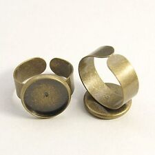 10pcs Antique Bronze Ring Shanks Adjustable Pad Bases Jewelry Diy Finding Making
