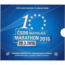 2015 slovakia bu set marathon 8 coins set 1 cent to 2 euro in folder and medal