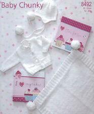 BABY knitting pattern  chunky blanket hat  cardigan size prem  12  / 20 INCHES