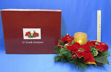 Christmas Holiday Faux Pine & Poinsettia Flower Floral Centerpiece w/ LED Candle