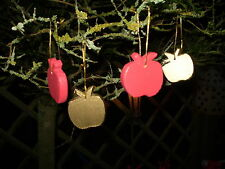 4 Danish ORO NATALE IN LEGNO mele Albero Decorazioni da appendere