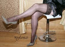 3 pairs Black Luxury Gloss Shine LaceTop Hold Ups Stockings M, L, XL, XXL