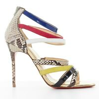 new CHRISTIAN LOUBOUTIN Mariniere 100 mutlicolor strappy python heel sandal EU35