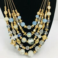 Opaline Glass Beaded Multi Strand Necklace Gold Tone Art Beads