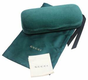 Gucci Authentic Designer Hard Velvet Clamshell Eyeglass/Sunglass Case in Green