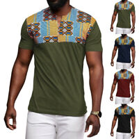 Mode Hommes T-shirt africain Dashiki Chemisier de plage ethnique Hippy Chemises