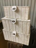 Resin Hamper Basket Set White