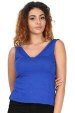 Magliette da donna blu con Scollo a V senza maniche