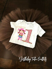 Cowgirl Pink Brown Tutu First 1st Birthday tutu outfit Girl Name Personalized