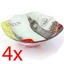 SET OF 4 LONDON SNACK BOWL CHINA KITCHEN DECOR SOUVENIR GIFT SERVING FRUIT NEW
