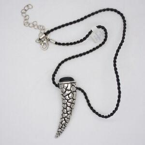 lia sophia jewelry rope chain black enamel horn pendant necklace for man women