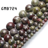 Natural Dragon Bloodstone Jasper Round Loose Stone Beads for Jewelry Making 15''