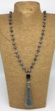 Fashion Gray Stones Beads Rosary Chain Crystal Tassel Necklace woman gift