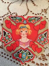 Lovely Vintage Girl's Valentines Card. Used. Heart shaped, Signed On Back,