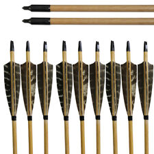 Hunting 12pcs Archery 32'' Handmade Wooden Arrows 5'' Turkey Feathers Black Tips