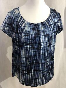 Anne Klein Silk Top Blue Multi Short Sleeve Large