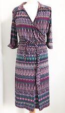 Purple Multicolour Faux Wrap Dress FIFILLES PARIS. T3 (UK 10)