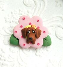 Ooak Dachsund Springtime Brooch Pin Clay Sculpted by Raquel theWrc