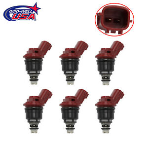 6Pc x Fuel Injectors 1660096E01 16600-10Y00 For 1992-1999 93 94 95 Nissan Maxima