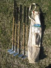Antique Davega Imperial Golf Clubs stainless steel with Canvas Bag -1930s -